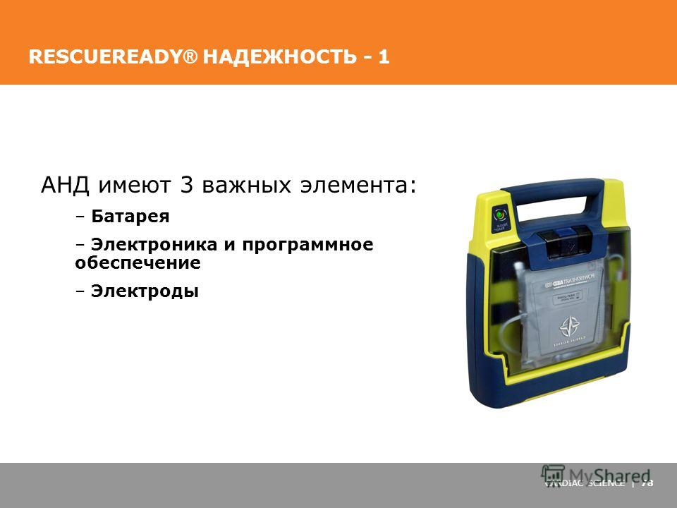 CARDIAC SCIENCE | 78 RESCUEREADY ® НАДЕЖНОСТЬ - 1 АНД имеют 3 важных элемента: – Батарея – Электроника и программное обеспечение – Электроды