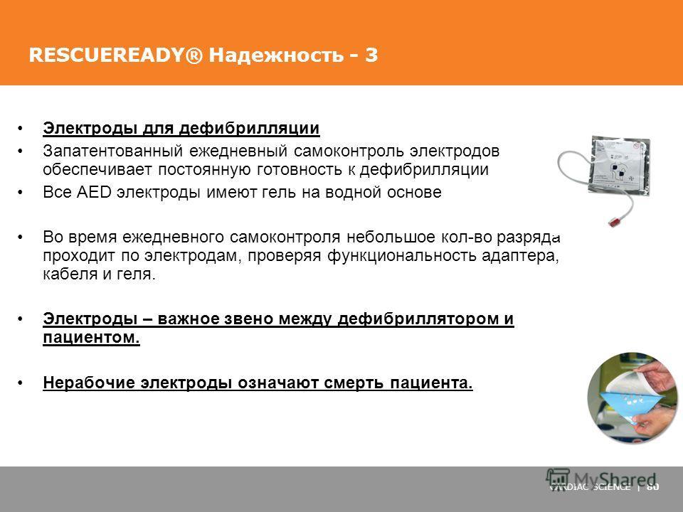 CARDIAC SCIENCE | 80 RESCUEREADY® Надежность - 3 Электроды для дефибрилляции Запатентованный ежедневный самоконтроль электродов обеспечивает постоянную готовность к дефибрилляции Все AED электроды имеют гель на водной основе Во время ежедневного само