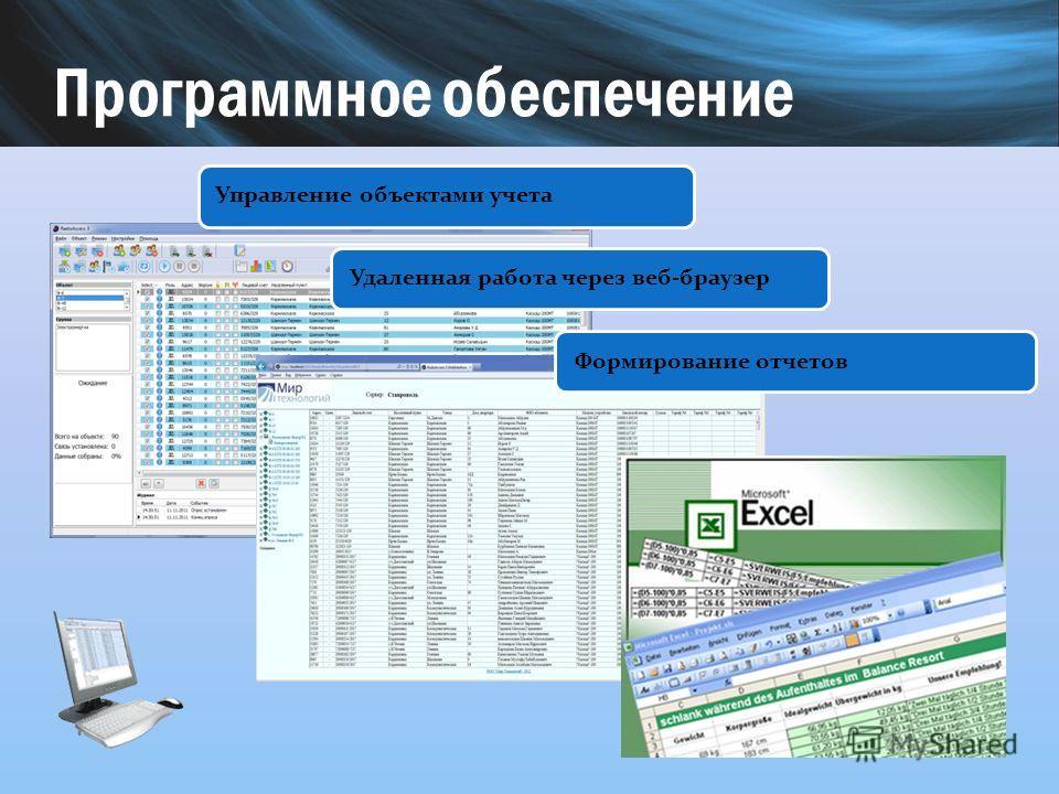 Управление объектами учета Удаленная работа через веб-браузер Формирование отчетов