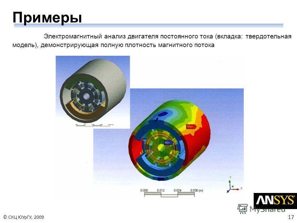 17 © СКЦ ЮУрГУ, 2009 Примеры Электромагнитный анализ двигателя постоянного тока (вкладка: твердотельная модель), демонстрирующая полную плотность магнитного потока