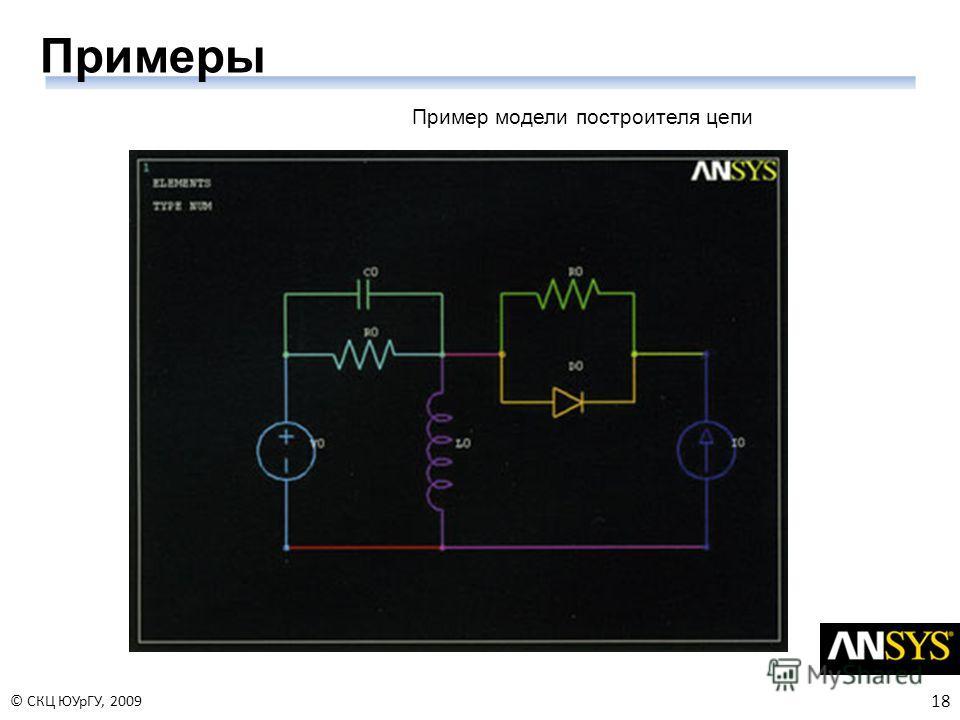 18 © СКЦ ЮУрГУ, 2009 Примеры Пример модели построителя цепи