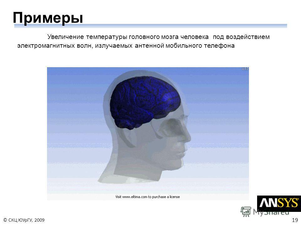 19 © СКЦ ЮУрГУ, 2009 Примеры Увеличение температуры головного мозга человека под воздействием электромагнитных волн, излучаемых антенной мобильного телефона