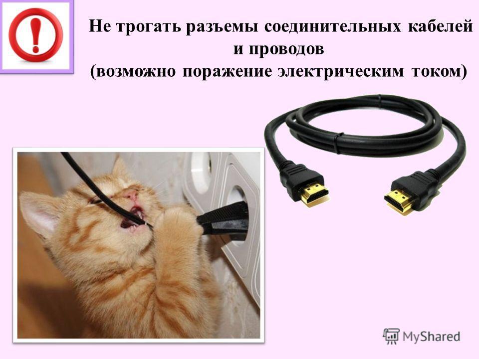 Не трогать разъемы соединительных кабелей и проводов (возможно поражение электрическим током)
