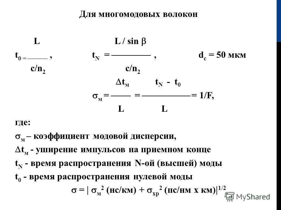Для многомодовых волокон L L / sin t 0 =, t N =, d с = 50 мкм с /n 2 с /n 2 t м t N - t 0 м = = = 1/F, L где: м – коэффициент модовой дисперсии, t м - уширение импульсов на приемном конце t N - время распространения N -ой (высшей) моды t 0 - время ра