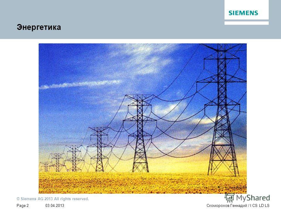 03.04.2013 © Siemens AG 2013 All rights reserved. Page 2Скоморохов Геннадий / I CS LD LS Энергетика