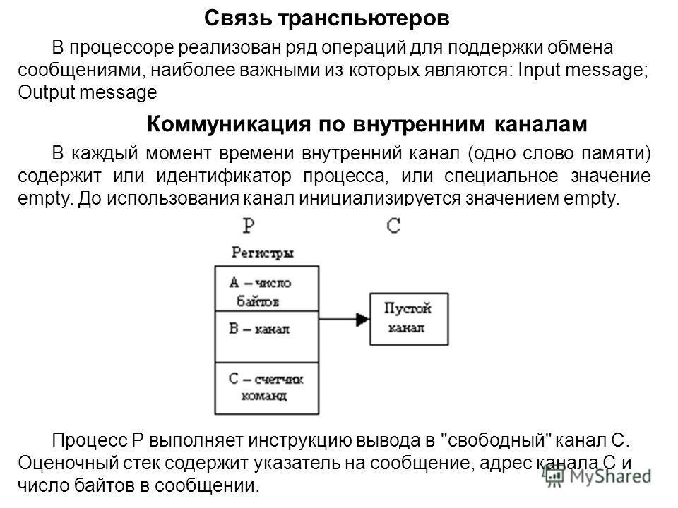 Связь транспьютеров В процессоре реализован ряд операций для поддержки обмена сообщениями, наиболее важными из которых являются: Input message; Output message Коммуникация по внутренним каналам В каждый момент времени внутренний канал (одно слово пам