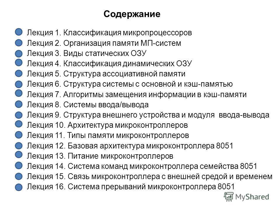Содержание Лекция 1. Классификация микропроцессоров Лекция 2. Организация памяти МП-систем Лекция 3. Виды статических ОЗУ Лекция 4. Классификация динамических ОЗУ Лекция 5. Структура ассоциативной памяти Лекция 6. Структура системы с основной и кэш-п