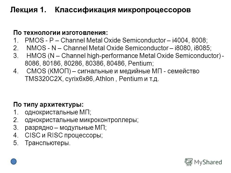 По технологии изготовления: 1.PMOS - P – Channel Metal Oxide Semiconductor – i4004, 8008; 2. NMOS - N – Channel Metal Oxide Semiconductor – i8080, i8085; 3. HMOS (N – Channel high-performance Metal Oxide Semiconductor) - 8086, 80186, 80286, 80386, 80