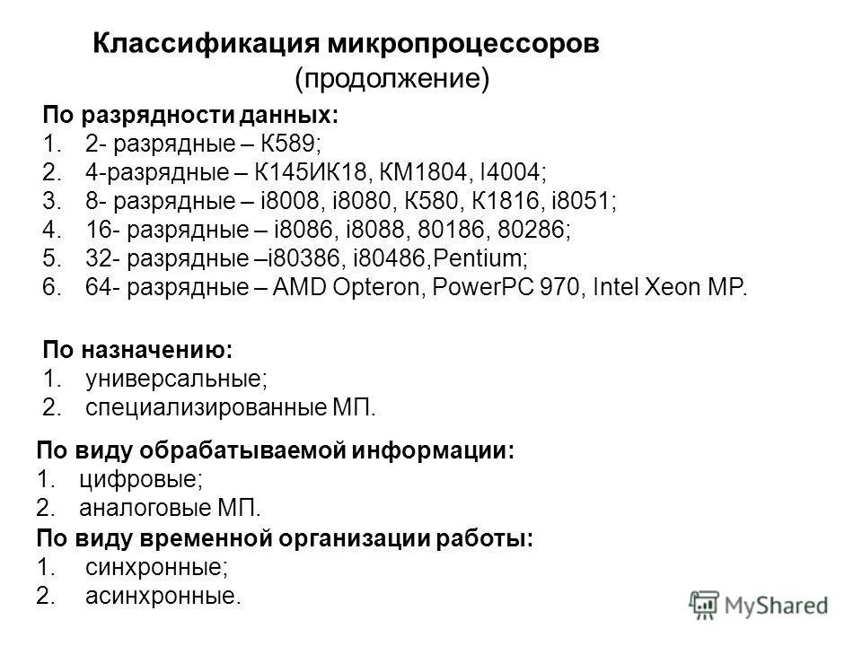 По разрядности данных: 1.2- разрядные – К589; 2.4-разрядные – К145ИК18, КМ1804, I4004; 3.8- разрядные – i8008, i8080, К580, К1816, i8051; 4.16- разрядные – i8086, i8088, 80186, 80286; 5.32- разрядные –i80386, i80486,Pentium; 6.64- разрядные – AMD Opt