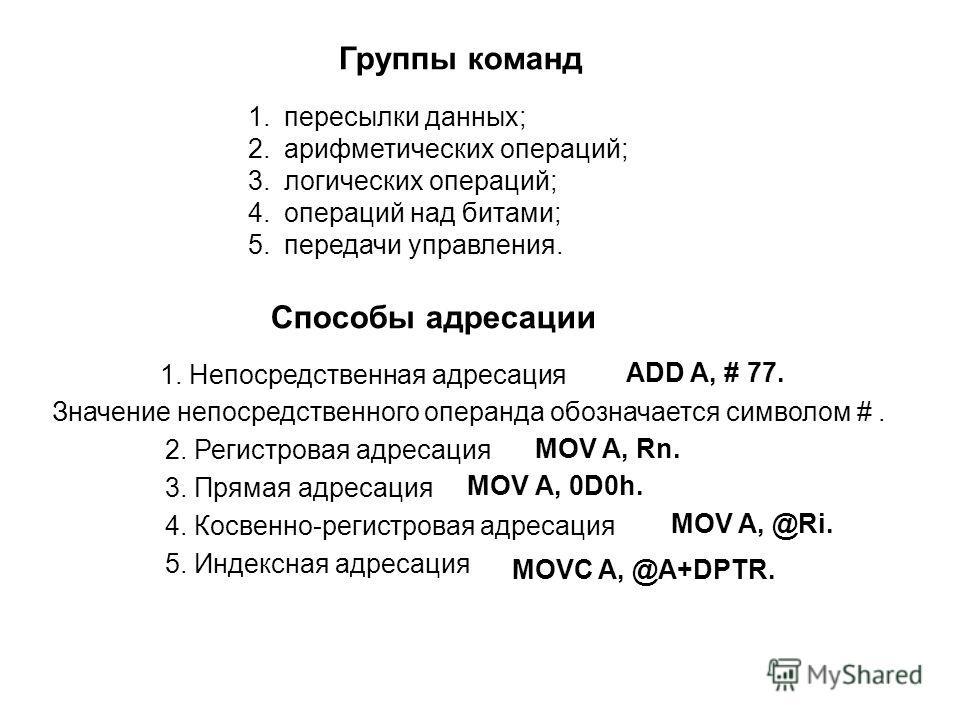 Группы команд 1.пересылки данных; 2.арифметических операций; 3.логических операций; 4.операций над битами; 5.передачи управления. Способы адресации 1. Непосредственная адресация ADD A, # 77. Значение непосредственного операнда обозначается символом #