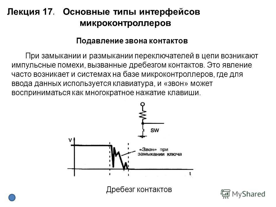 Лекция 17. Основные типы интерфейсов микроконтроллеров Подавление звона контактов Дребезг контактов При замыкании и размыкании переключателей в цепи возникают импульсные помехи, вызванные дребезгом контактов. Это явление часто возникает и системах на