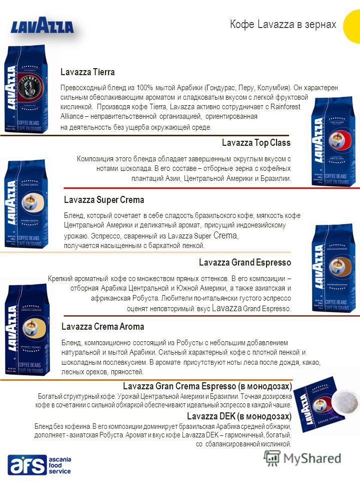 Lavazza Tierra Превосходный бленд из 100% мытой Арабики (Гондурас, Перу, Колумбия). Он характерен сильным обволакивающим ароматом и сладковатым вкусом с легкой фруктовой кислинкой. Производя кофе Tierra, Lavazza активно сотрудничает с Rainforest Alli