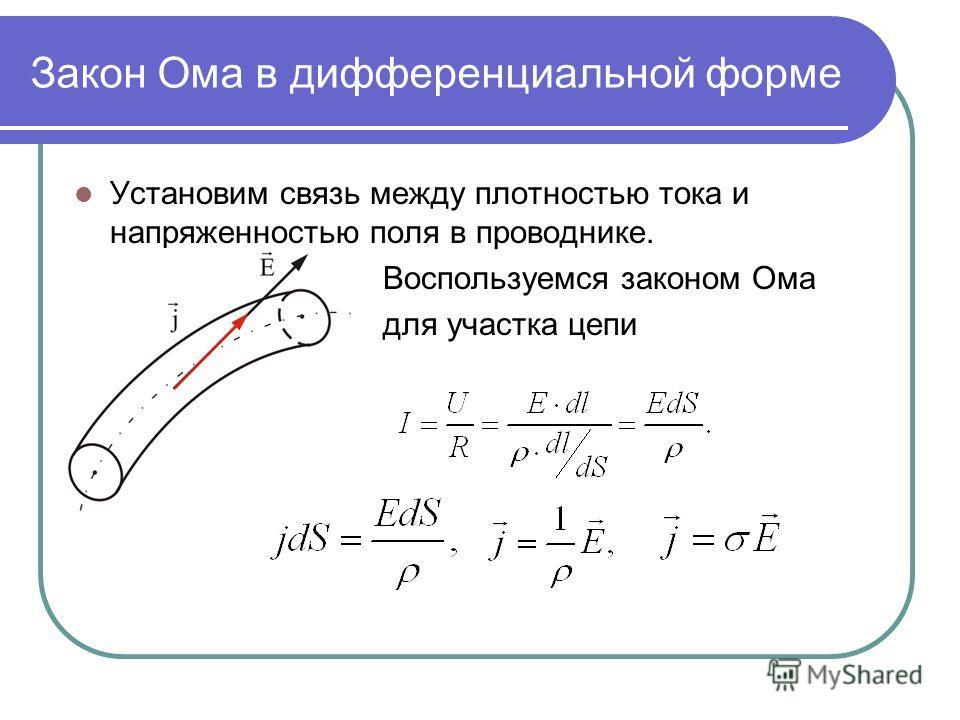 Закон Ома в дифференциальной форме Установим связь между плотностью тока и напряженностью поля в проводнике. Воспользуемся законом Ома для участка цепи