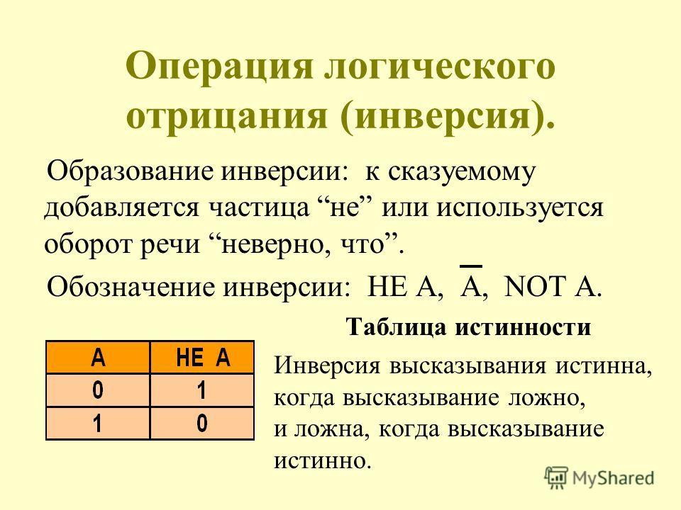 Операция логического отрицания (инверсия). Образование инверсии: к сказуемому добавляется частица не или используется оборот речи неверно, что. Обозначение инверсии: НЕ A, A, NOT А. Таблица истинности Инверсия высказывания истинна, когда высказывание