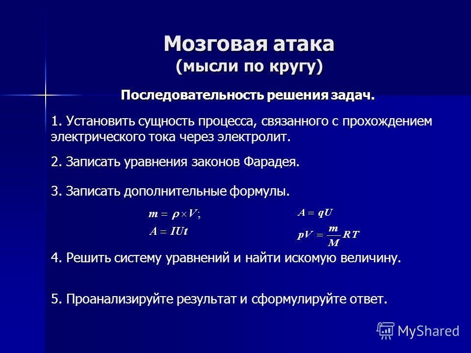 Мозговая атака (мысли по кругу) Как решать задачи, используя законы электролиза (памятка). 1. Для электролитов справедлив закон Ома. 2. Сила тока в электролите равна силе тока в проводящих проводах. 3. Если в задаче рассматривается выделение газа при