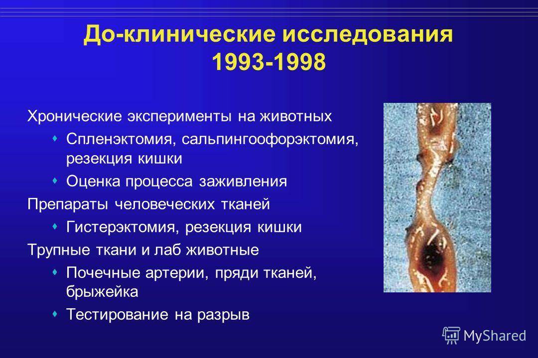 До-клинические исследования 1993-1998 Хронические эксперименты на животных Спленэктомия, сальпингоофорэктомия, резекция кишки Оценка процесса заживления Препараты человеческих тканей Гистерэктомия, резекция кишки Трупные ткани и лаб животные Почечные