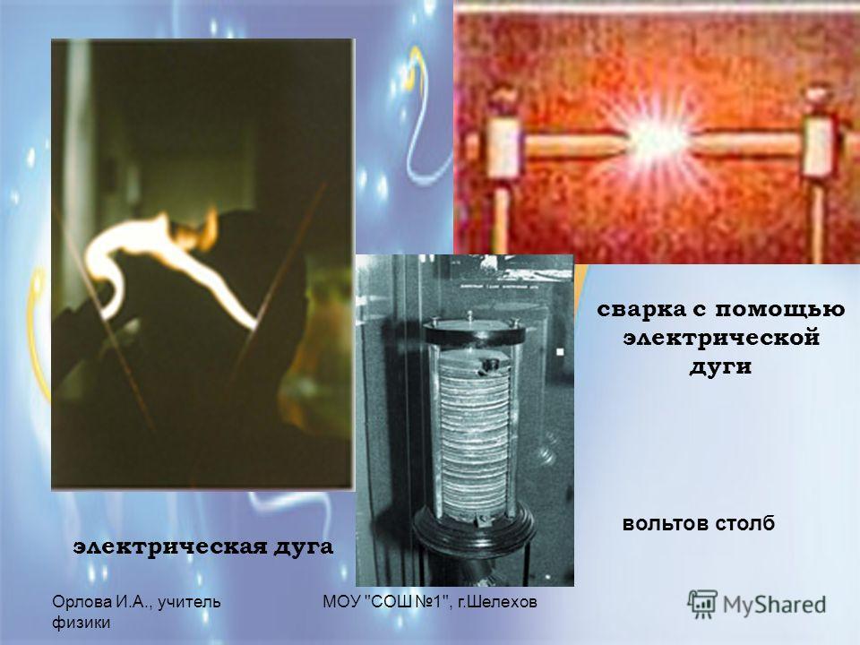 Орлова И.А., учитель физики МОУ СОШ 1, г.Шелехов сварка с помощью электрической дуги электрическая дуга вольтов столб