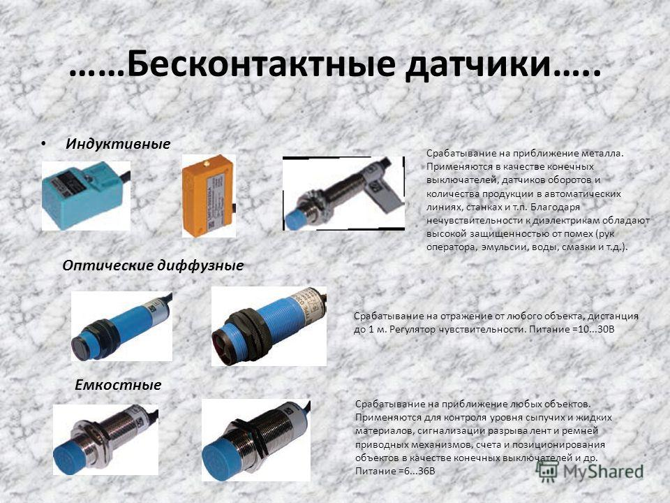 ……Бесконтактные датчики….. Индуктивные Оптические диффузные Емкостные Срабатывание на приближение металла. Применяются в качестве конечных выключателей, датчиков оборотов и количества продукции в автоматических линиях, станках и т.п. Благодаря нечувс