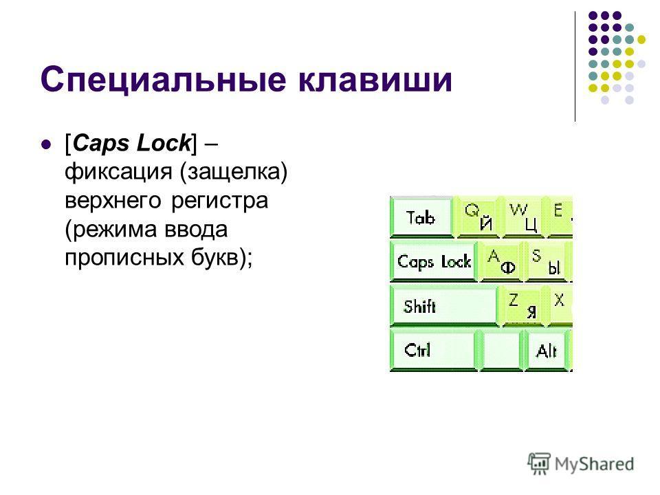 Специальные клавиши [Caps Lock] – фиксация (защелка) верхнего регистра (режима ввода прописных букв);