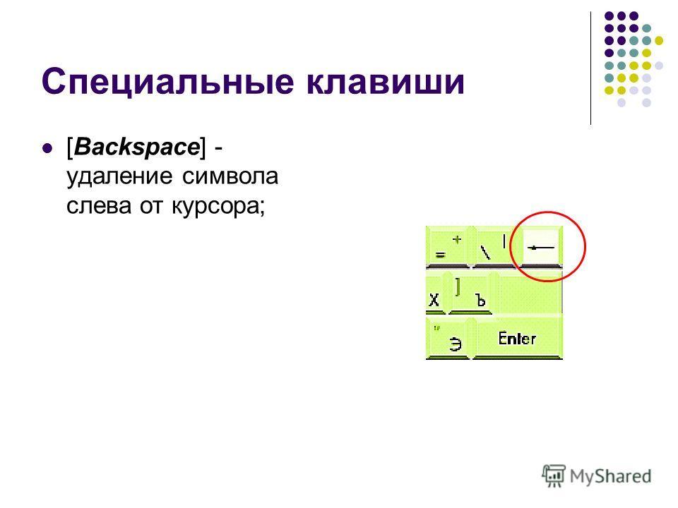 Специальные клавиши [Backspace] - удаление символа слева от курсора;