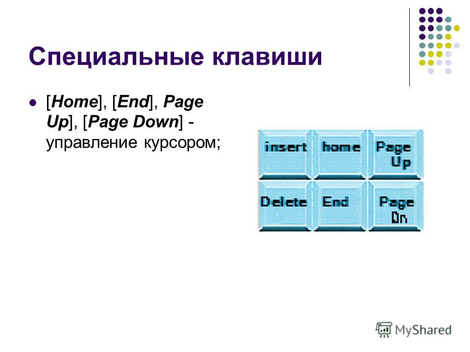 Специальные клавиши [Home], [End], Page Up], [Page Down] - управление курсором;