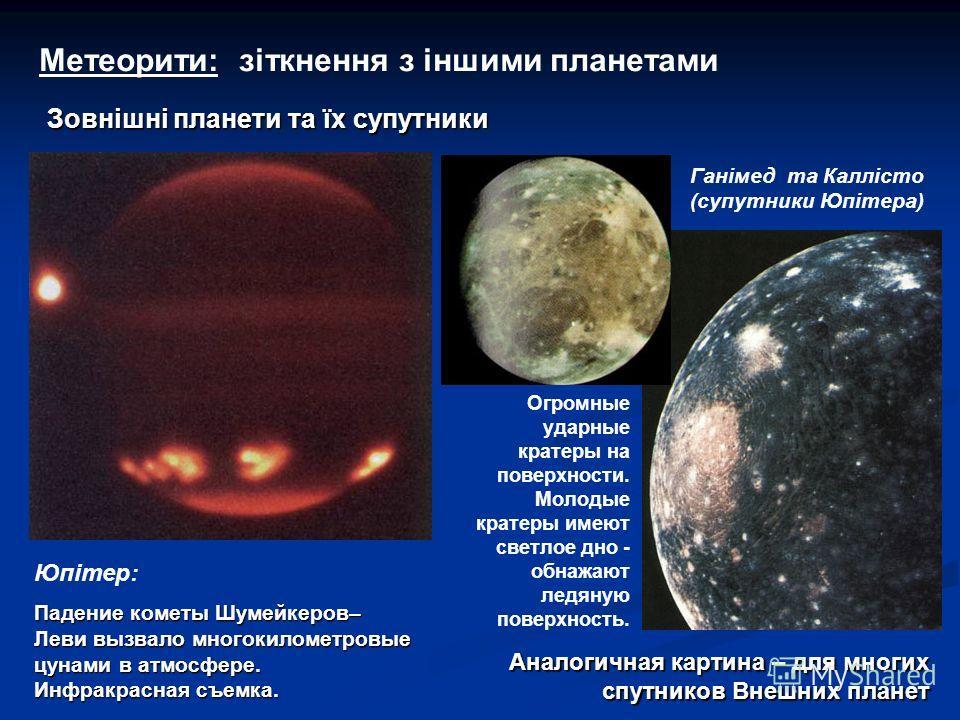 Метеорити: зіткнення з іншими планетами Юпітер: Падение кометы Шумейкеров– Леви вызвало многокилометровые цунами в атмосфере. Инфракрасная съемка. Огромные ударные кратеры на поверхности. Молодые кратеры имеют светлое дно - обнажают ледяную поверхнос