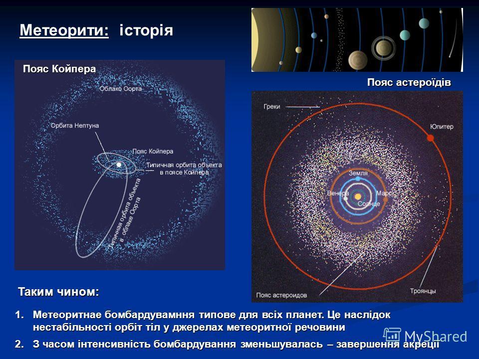 Метеорити: історія Пояс астероїдів Пояс Койпера 1.Метеоритнае бомбардувамння типове для всіх планет. Це наслідок нестабільності орбіт тіл у джерелах метеоритної речовини 2.З часом інтенсивність бомбардування зменьшувалась – завершення акреції Таким ч