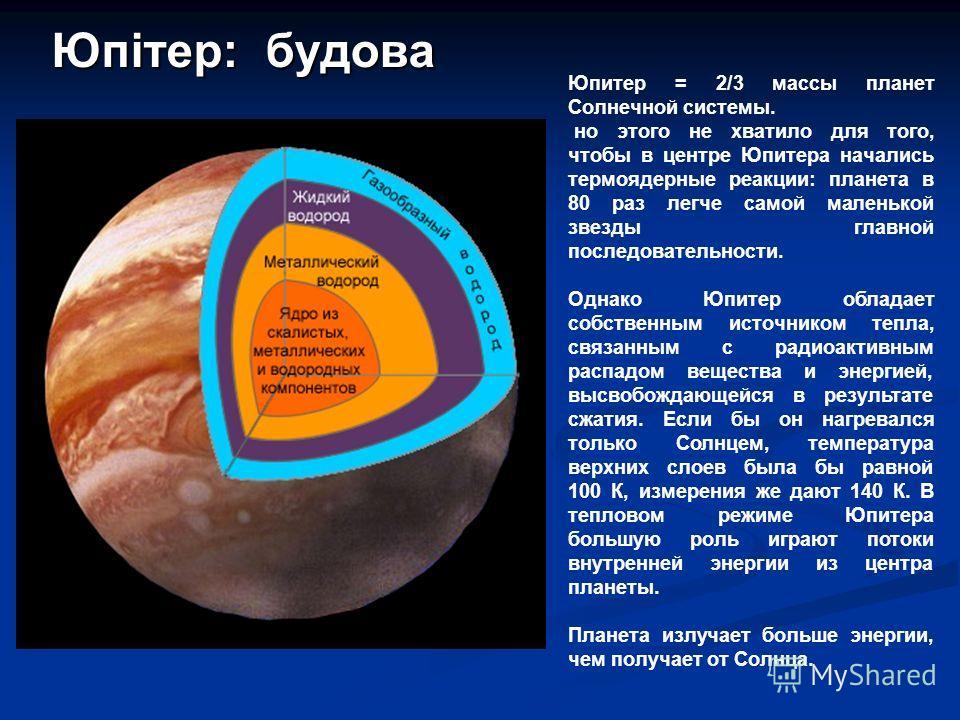 Юпитер = 2/3 массы планет Солнечной системы. но этого не хватило для того, чтобы в центре Юпитера начались термоядерные реакции: планета в 80 раз легче самой маленькой звезды главной последовательности. Однако Юпитер обладает собственным источником т