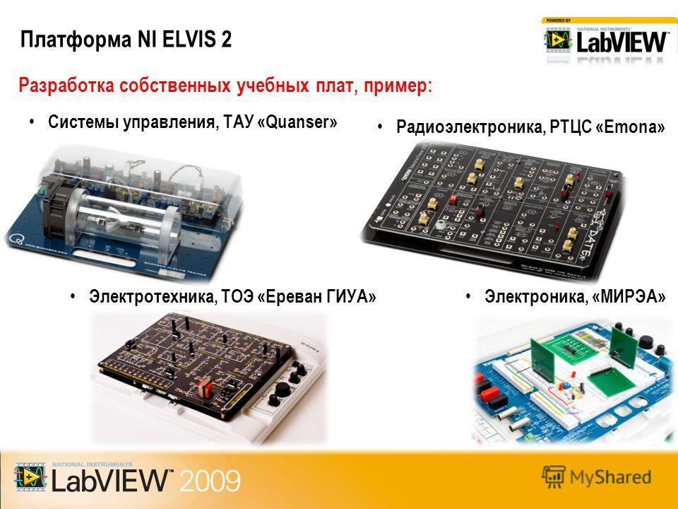 Платформа NI ELVIS 2 Разработка собственных учебных плат, пример: Системы управления, ТАУ «Quanser» Радиоэлектроника, РТЦС «Emona» Электротехника, ТOЭ «Ереван ГИУА» Электроника, «МИРЭА»