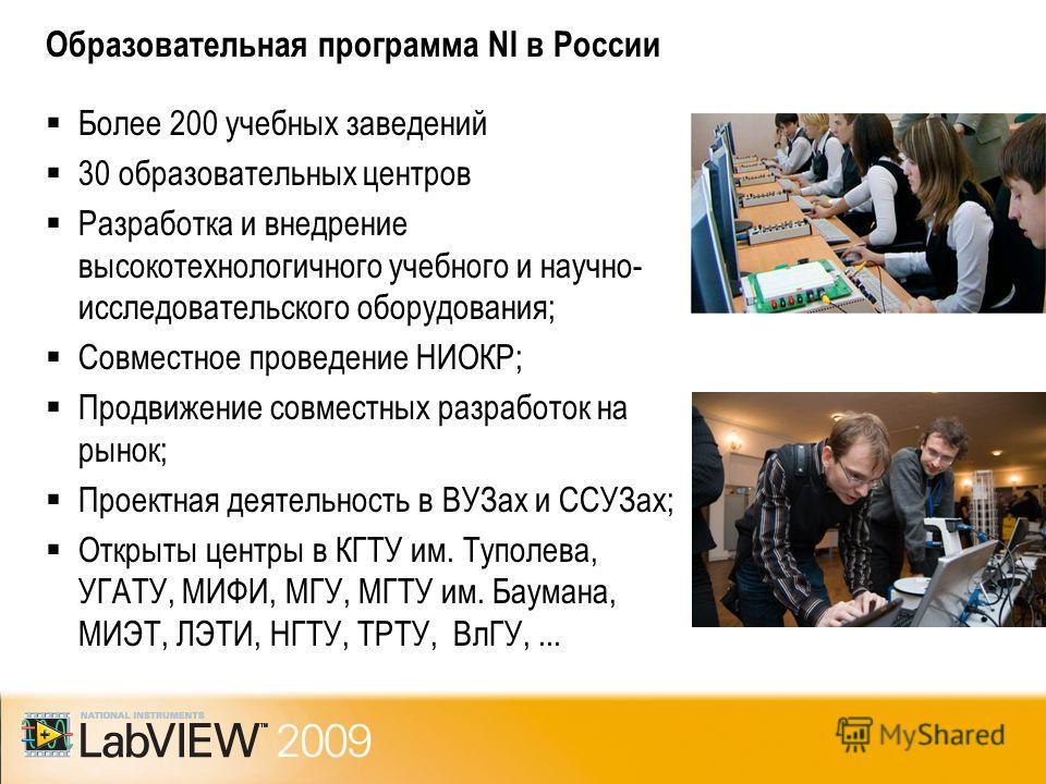 Образовательная программа NI в России Более 200 учебных заведений 30 образовательных центров Разработка и внедрение высокотехнологичного учебного и научно- исследовательского оборудования; Совместное проведение НИОКР; Продвижение совместных разработо