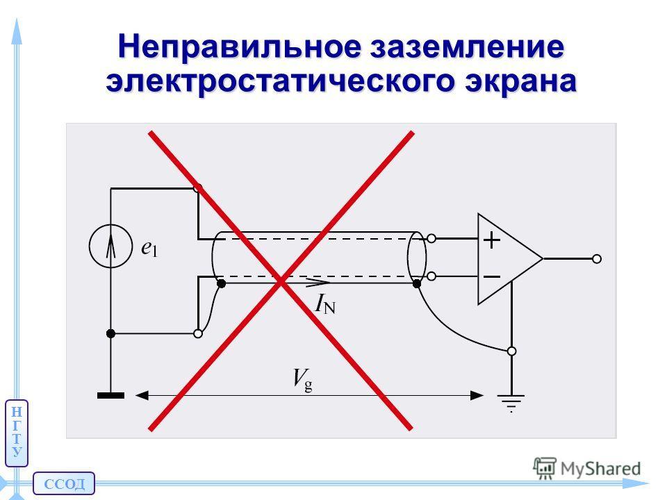 ССОД НГТУНГТУ Неправильное заземление электростатического экрана