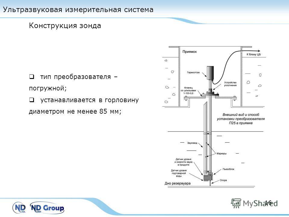 Ультразвуковая измерительная система 16 тип преобразователя – погружной; устанавливается в горловину диаметром не менее 85 мм; Конструкция зонда