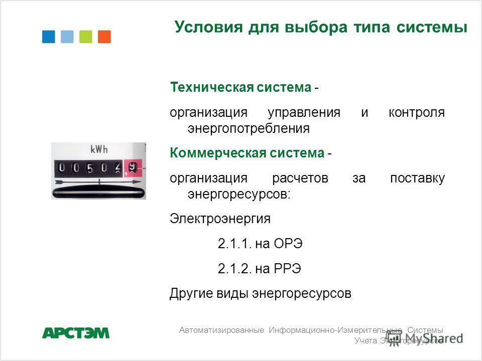 Условия для выбора типа системы Техническая система - организация управления и контроля энергопотребления Коммерческая система - организация расчетов за поставку энергоресурсов: Электроэнергия 2.1.1. на ОРЭ 2.1.2. на РРЭ Другие виды энергоресурсов Ав