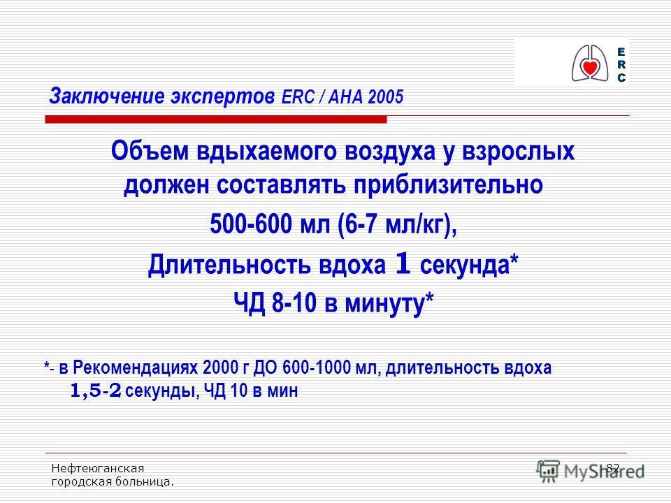 Нефтеюганская городская больница. 82 Заключение экспертов ERC / AHA 2005 Объем вдыхаемого воздуха у взрослых должен составлять приблизительно 500-600 мл (6-7 мл/кг), Длительность вдоха 1 секунда* ЧД 8-10 в минуту* * - в Рекомендациях 2000 г ДО 600-10
