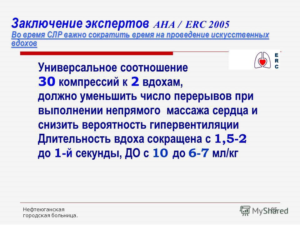 Нефтеюганская городская больница. 85 Во время СЛР важно сократить время на проведение искусственных вдохов Заключение экспертов AHA / ERC 2005 Во время СЛР важно сократить время на проведение искусственных вдохов Универсальное соотношение 30 компресс