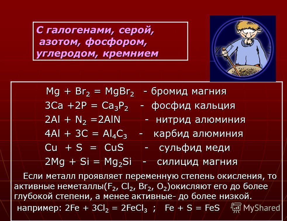 С галогенами, серой, азотом, фосфором, углеродом, кремнием Mg + Br 2 = MgBr 2 - бромид магния Mg + Br 2 = MgBr 2 - бромид магния 3Ca +2P = Ca 3 P 2 - фосфид кальция 3Ca +2P = Ca 3 P 2 - фосфид кальция 2Al + N 2 =2AlN - нитрид алюминия 2Al + N 2 =2AlN