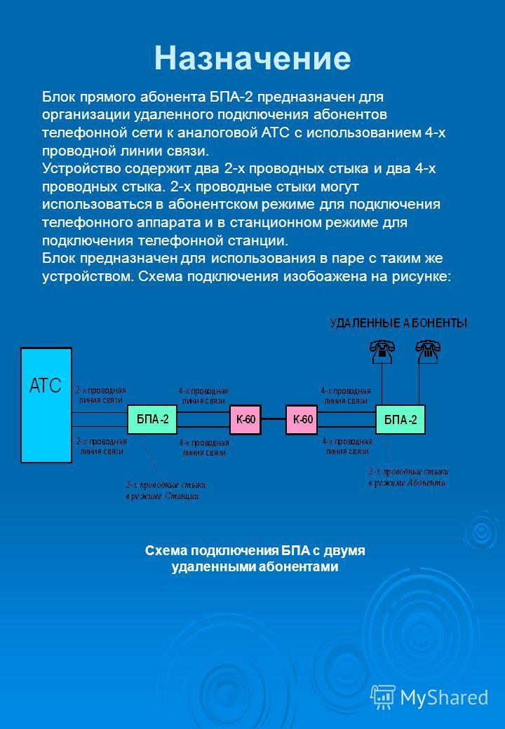 Назначение Блок прямого абонента БПА-2 предназначен для организации удаленного подключения абонентов телефонной сети к аналоговой АТС с использованием 4-х проводной линии связи. Устройство содержит два 2-х проводных стыка и два 4-х проводных стыка. 2
