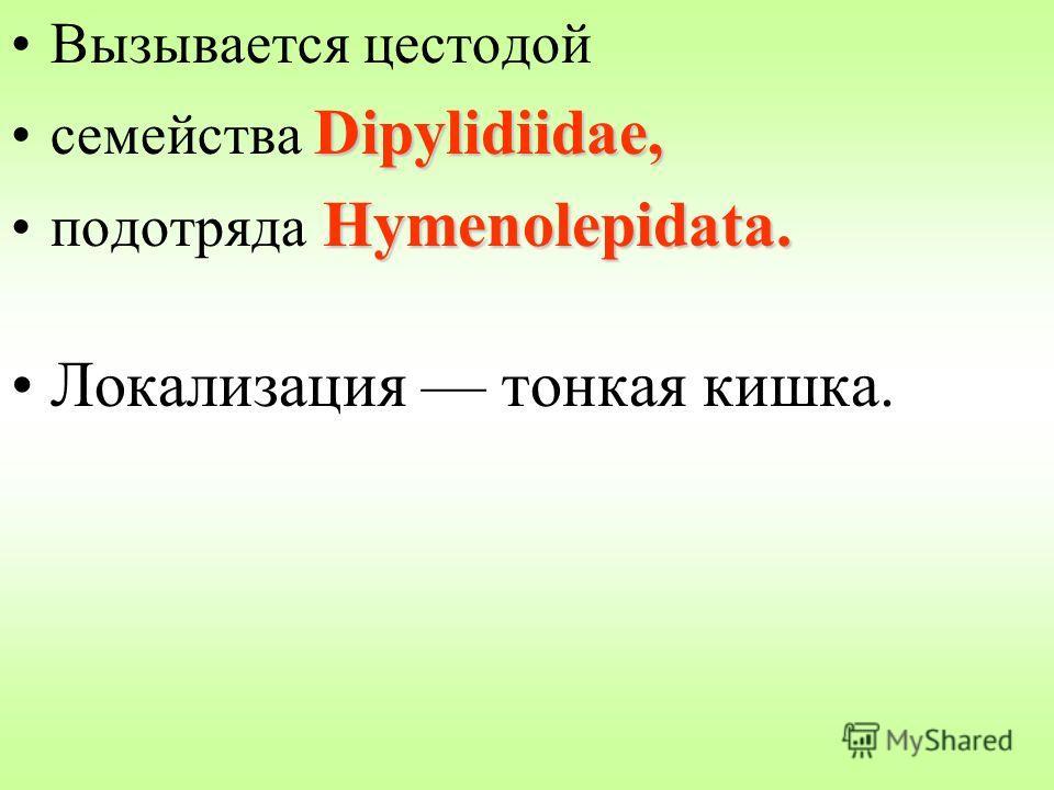 Вызывается цестодой Dipylidiidae,семейства Dipylidiidae, Hymenolepidata.подотряда Hymenolepidata. Локализация тонкая кишка.