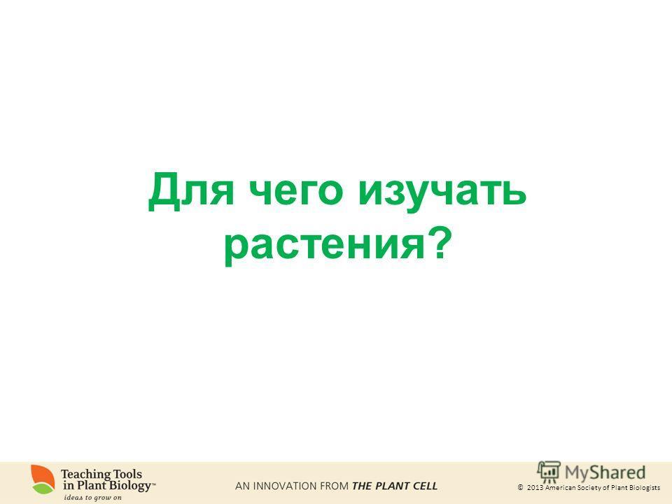© 2013 American Society of Plant Biologists Для чего изучать растения?