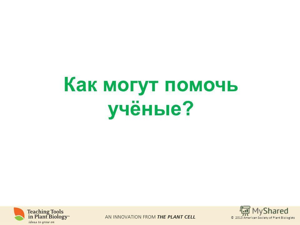 © 2013 American Society of Plant Biologists Как могут помочь учёные?