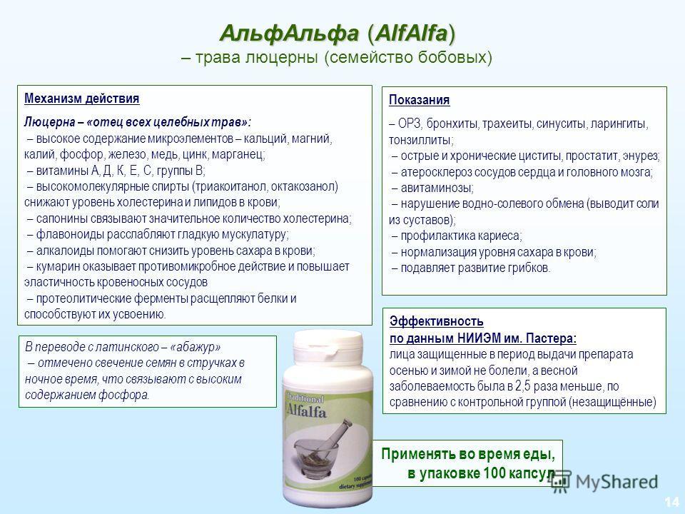 14 АльфАльфа (AlfAlfa) АльфАльфа (AlfAlfa) – трава люцерны (семейство бобовых) Механизм действия Люцерна – «отец всех целебных трав»: – высокое содержание микроэлементов – кальций, магний, калий, фосфор, железо, медь, цинк, марганец; – витамины А, Д,