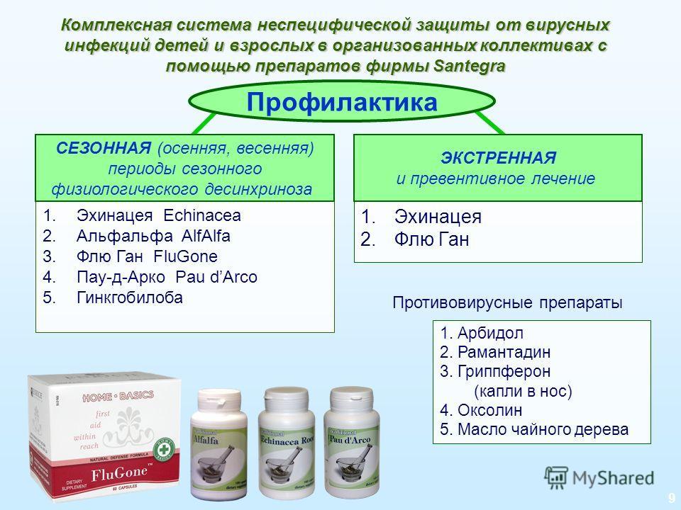 9 Комплексная система неспецифической защиты от вирусных инфекций детей и взрослых в организованных коллективах с помощью препаратов фирмы Santegra Профилактика 1.Эхинацея Echinacea 2.Альфальфа AlfAlfa 3.Флю Ган FluGone 4.Пау-д-Арко Pau dArco 5.Гинкг