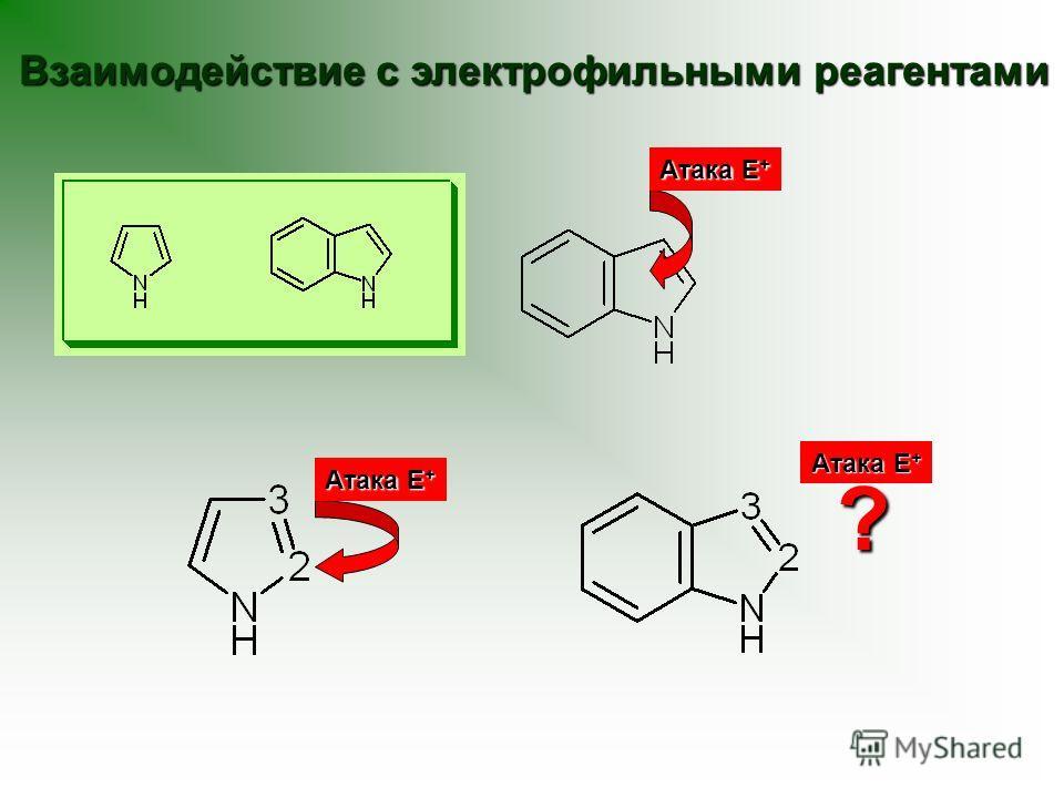 Взаимодействие с электрофильными реагентами Атака Е + ?