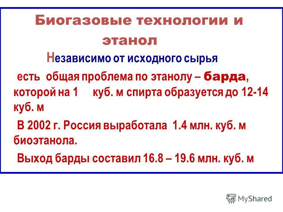 Биогазовые технологии и этанол Н езависимо от исходного сырья есть общая проблема по этанолу – барда, которой на 1 куб. м спирта образуется до 12-14 куб. м В 2002 г. Россия выработала 1.4 млн. куб. м биоэтанола. Выход барды составил 16.8 – 19.6 млн.