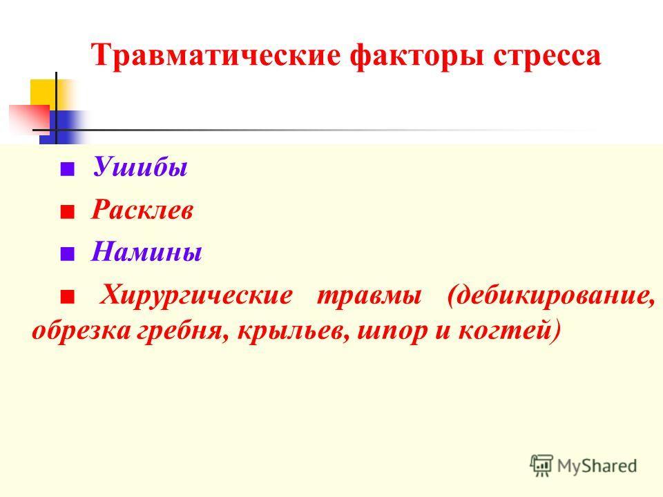 Травматические факторы стресса Ушибы Расклев Намины Хирургические травмы (дебикирование, обрезка гребня, крыльев, шпор и когтей)