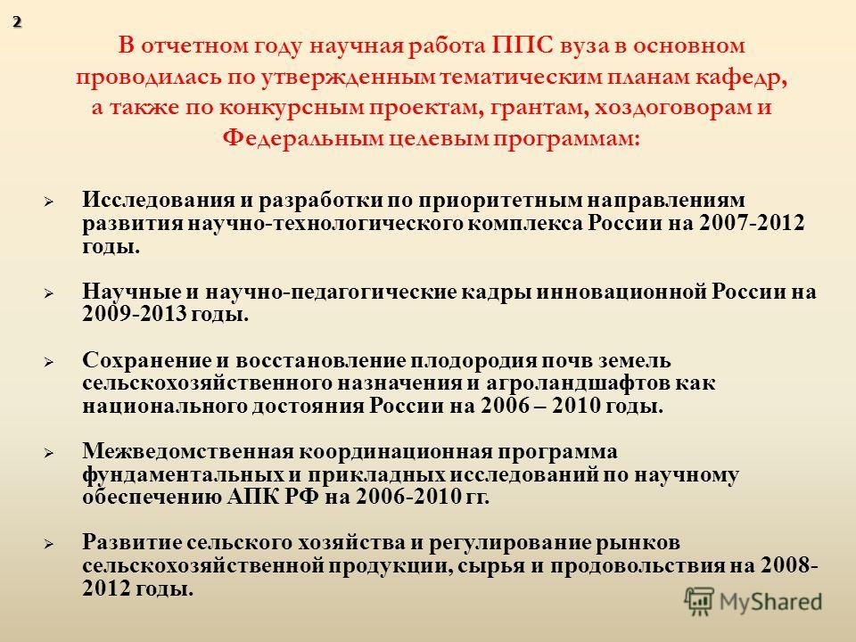 Исследования и разработки по приоритетным направлениям развития научно - технологического комплекса России на 2007-2012 годы. Научные и научно - педагогические кадры инновационной России на 2009-2013 годы. Сохранение и восстановление плодородия почв