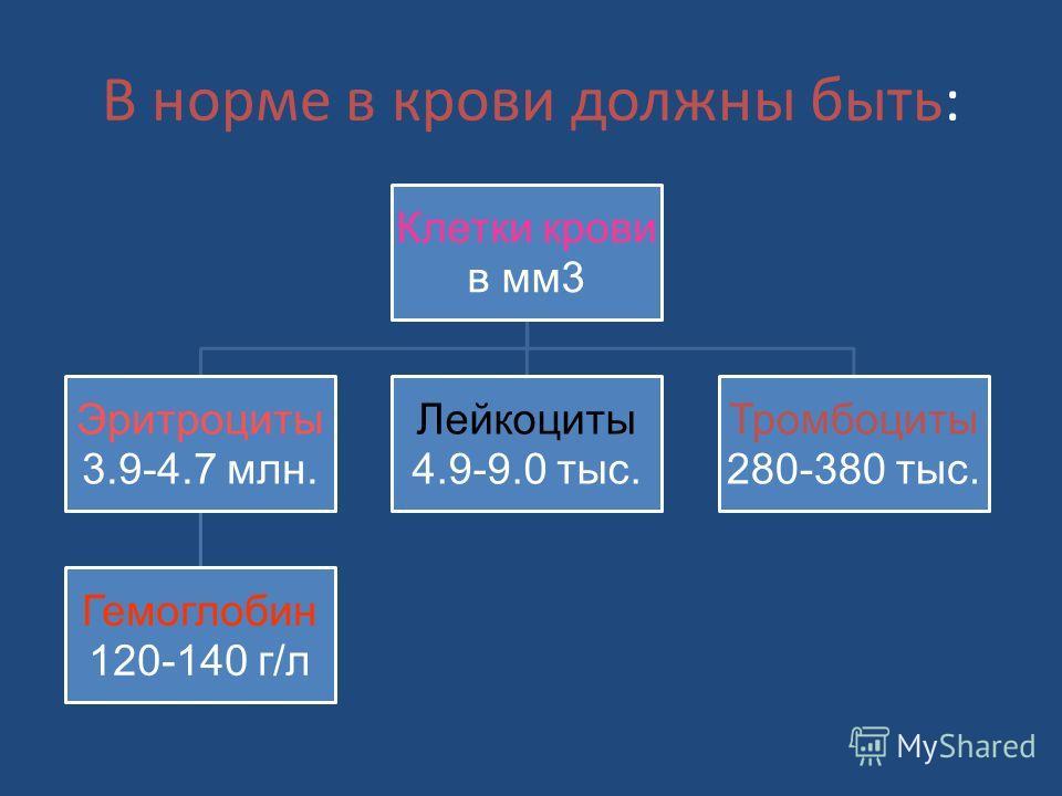 В норме в крови должны быть: Клетки крови в мм3 Эритроциты 3.9-4.7 млн. Гемоглобин 120-140 г/л Лейкоциты 4.9-9.0 тыс. Тромбоциты 280-380 тыс.