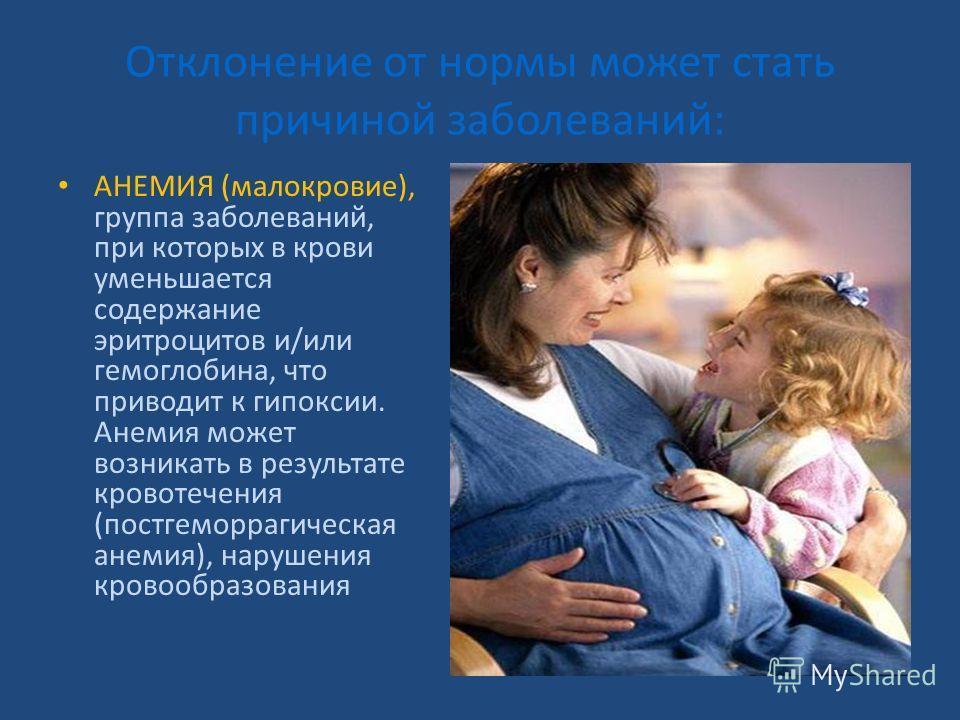 Отклонение от нормы может стать причиной заболеваний: АНЕМИЯ (малокровие), группа заболеваний, при которых в крови уменьшается содержание эритроцитов и/или гемоглобина, что приводит к гипоксии. Анемия может возникать в результате кровотечения (постге