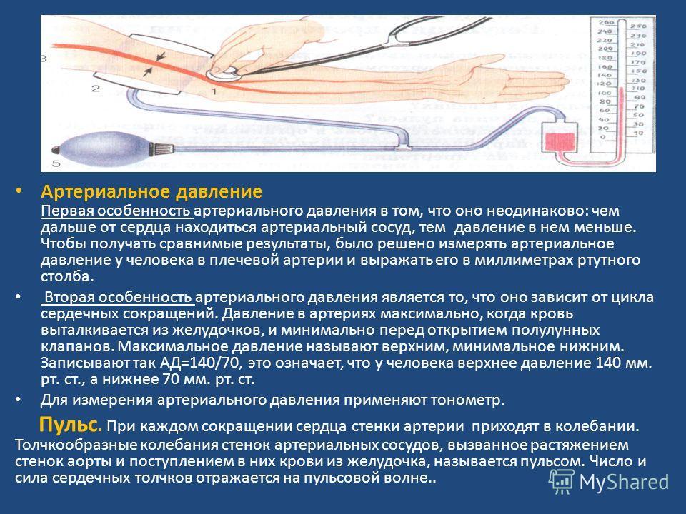 Артериальное давление Первая особенность артериального давления в том, что оно неодинаково: чем дальше от сердца находиться артериальный сосуд, тем давление в нем меньше. Чтобы получать сравнимые результаты, было решено измерять артериальное давление