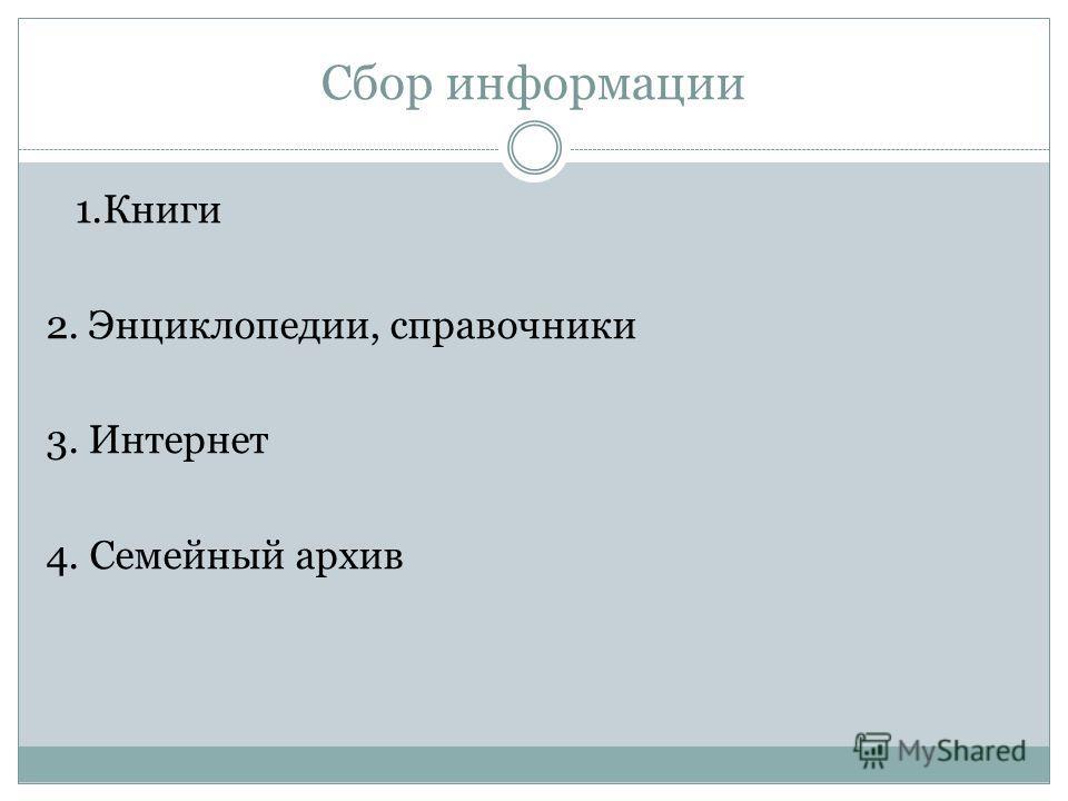 Сбор информации 1.Книги 2. Энциклопедии, справочники 3. Интернет 4. Семейный архив
